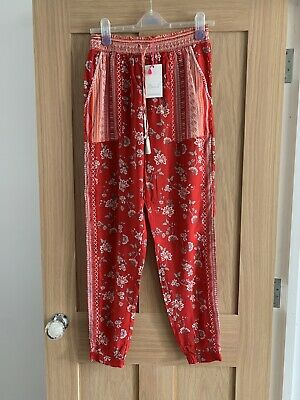 £10 • Buy BNWT Red Floral Monsoon Beach Summer Trousers Size Small (8 10)