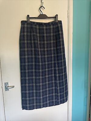 £3.79 • Buy Marks And Spencer | Blue Check Linen Wrap Skirt | Size 20