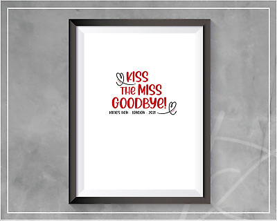 £3.99 • Buy Kiss The Miss Goodbye | Hen Party Keepsake Games | 2021 Hen Party | A4 Print