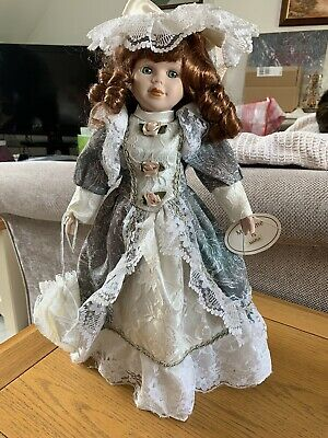 """£5 • Buy Vintage Porcelain Doll 16"""" Maria With Stand"""