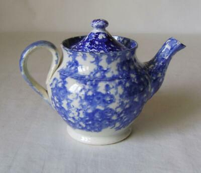 £20 • Buy Early Pearlware Tea Pot With Sponged Blue Decoration: 13 Cm Long