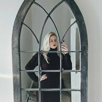 £119 • Buy Gothic Architectural Church Window Style Aged Metal Wall Mirror