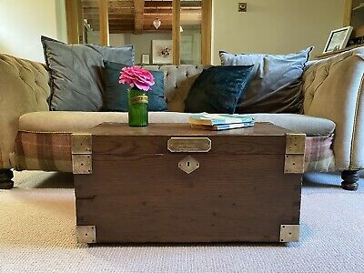 £130 • Buy Old CHEST, ANTIQUE Wooden Blanket TRUNK, Coffee TABLE, Vintage, Storage Toy BOX
