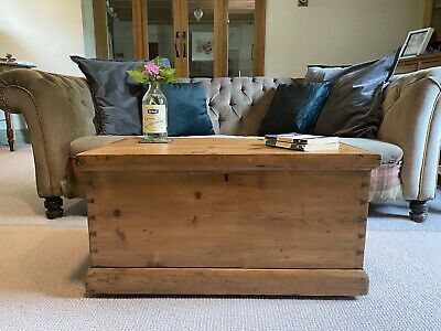 £145.82 • Buy Old PINE CHEST, ANTIQUE Wooden Blanket TRUNK Coffee TABLE, Vintage Storage BOX