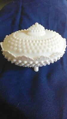 $20 • Buy Vintage Milk Glass Footed Oval Hobnail Candy Dish With Lid