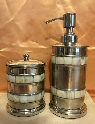 $ CDN14.57 • Buy Vintage Soap Dispenser Cotton Ball/q Tip Holder-mother Of Pearl-stainless-india