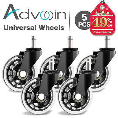 AU27.90 • Buy 5PCS 3 Swivel Caster Wheels Heavy Duty Gaming Office Chair Rotation Smooth Black