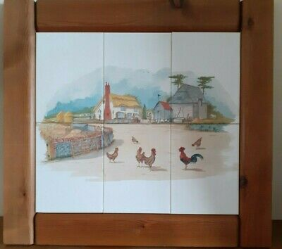 £11.30 • Buy Pre-owned Tiled Farmyard Picture/Wall Hanging Made Up From 6 Ceramic Tiles