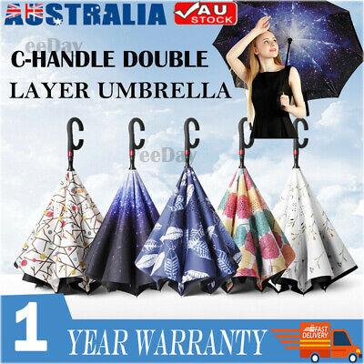 AU20.99 • Buy Windproof Upside Down Reverse Umbrella Double Layer Inside-Out Inverted C-Handle