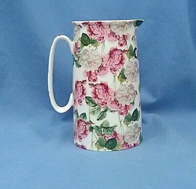 £15.99 • Buy Heron Cross Pottery Jug With White And Pink Roses Pattern - 1.5 Pints