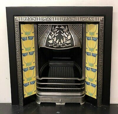 £295 • Buy Polished Victorian Style Cast Iron Tiled Insert Fireplace