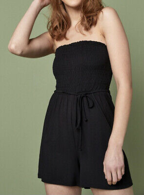 £14 • Buy Next Bandeau Strapless Black Shirred Playsuit Size 10 New