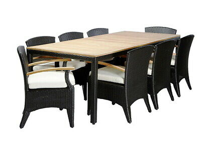 AU2390 • Buy NEW Kai 8 - Raw Natural Teak Timber & Wicker Outdoor Dining 9 Pce Setting  Patio