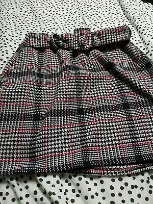 £0.10 • Buy Primark Size 8 Ladies Grey Checked Skirt With Belt