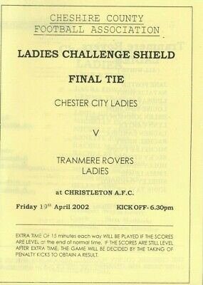 £4 • Buy Chester City FC Women V Tranmere Rovers FC Women : Cheshire Women's County Final