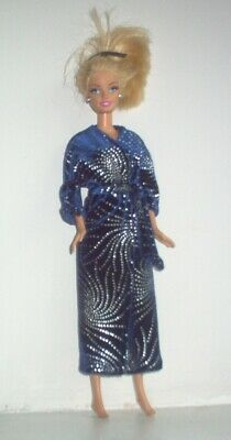 £5.99 • Buy Handmade Blue And Silver Velour Dressing Gown Robe Fits Barbie Or Similar Doll
