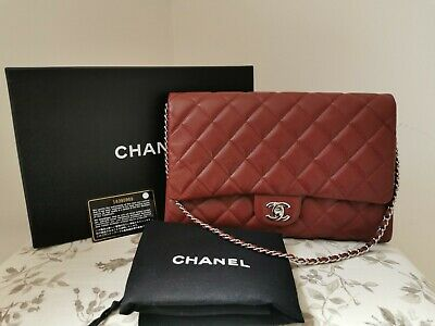 £2275 • Buy Chanel Quilted Caviar Leather Classic Clutch On Chain Bag Burgundy Red