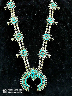 $ CDN2186.19 • Buy Native American Navajo Vintage Squash Blossom Sterling Silver Turquoise Necklace