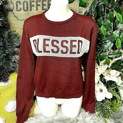 AU26.18 • Buy Modern Lux Womens Sweater Size M Burgundy Long Sleeve Blessed Spell Out