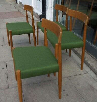 £995 • Buy 4x Vintage Teak 1970s  Mogens Kold Danish Dining Chairs Covered In Green Textile