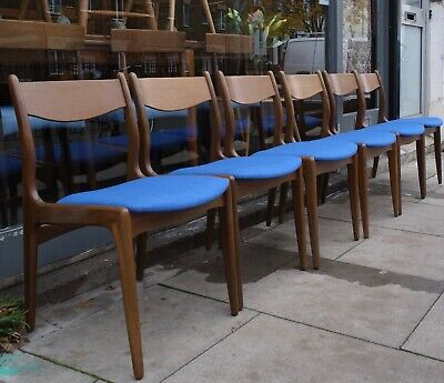 £895 • Buy 6x Vintage 1960s Danish African Teakwood Dining Chair With Blue Cloth Seat-pads