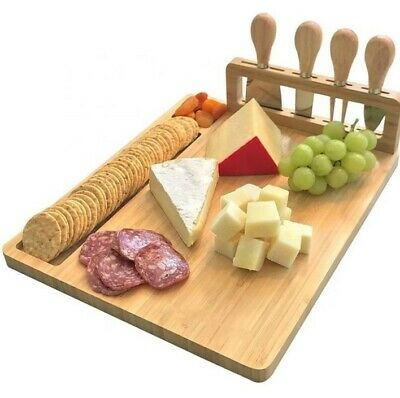 £14.99 • Buy Natural Bamboo Large Cheese Board Set - Four Cheese Knives- Birthday Gift Party
