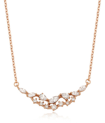 $ CDN77.73 • Buy Stone Henge Silver Necklace SC1138 Rose Gold Plated Cubic Zirconia