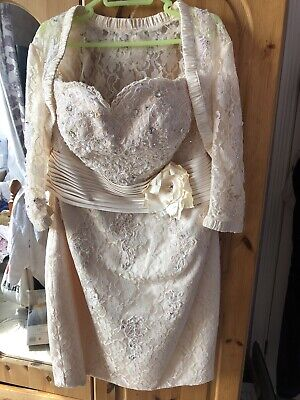 £60 • Buy Mother Of The Bride Champagne Lace Sparkling Dress And Bolero