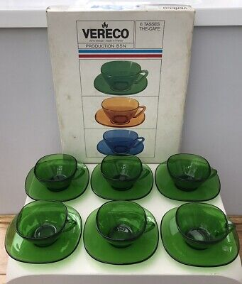 £15.99 • Buy Vintage Boxed Set Vereco French Green Glass Square Coffee Cups & Saucers, Retro