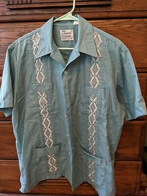 £5.67 • Buy Vintage 70s Men Shirt GUAYABERA Mexican Wedding Embroidered