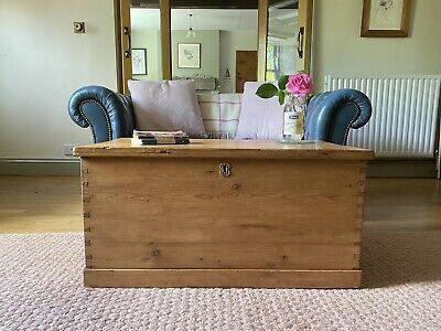 £245 • Buy Old Victorian PINE CHEST, ANTIQUE Wooden Blanket TRUNK Coffee TABLE, Storage BOX