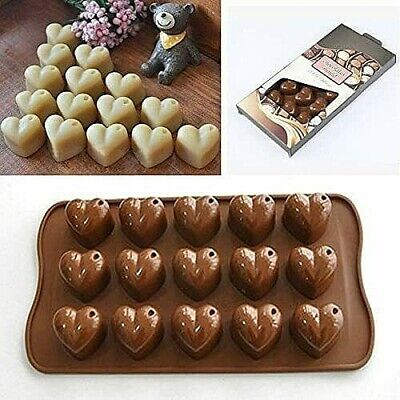 £2.99 • Buy Silicone 15 Hearts Chocolate Mould Candy Jelly Ice Cube Cake Decorations