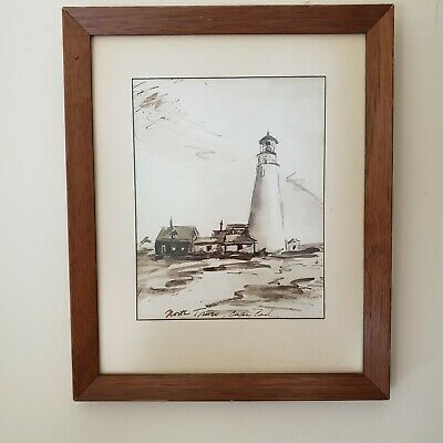 $69.95 • Buy Vintage North Truro MA CAPE COD Lighthouse Original Watercolor Painting Signed