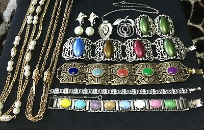 $ CDN56.03 • Buy Huge Vintage Jewelry Lot Sarah Coventry Art Glass Link Necklace Earring Brooch