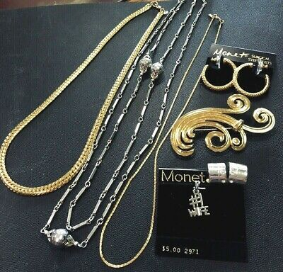 $ CDN30.50 • Buy Vintage Jewelry Lot Signed Monet Necklace Charm #1 Wife Earring Pin Brooch Chain