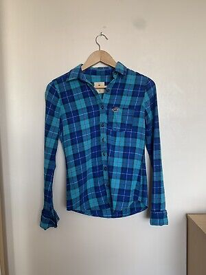 £5 • Buy Hollister Blue Checked Button Up Shirt / Over Shirt / Flannel Size XS
