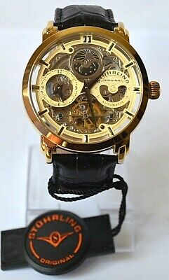$ CDN341.38 • Buy Stuhrling Gents Dual Time Skeleton Automatic Watch With Moon Phase Complication