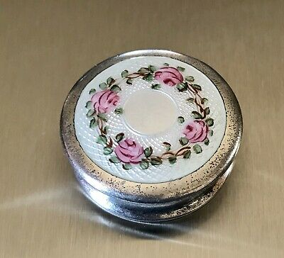 £49.98 • Buy Sterling Silver Guilloche Enamel Roses Hinged Box Pill Snuff Compact
