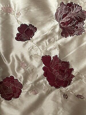 £35 • Buy DUNELM MILL Red Cream Gold Pink Pleated Long Lined Pair Curtains W 66  X L 72