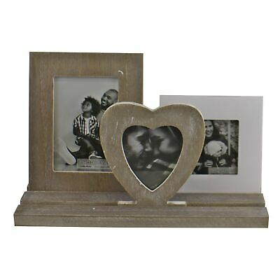 £17.49 • Buy Rustic Wooden Triple Photo Frame On Tray Freestanding Picture Holder Decor