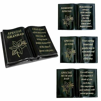 £14.99 • Buy New Memorial Lily Flower Sentimental Grave Plaque Stone Gold Verse Funeral Books