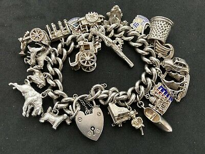 £135 • Buy Vintage Sterling Silver Charm Bracelet With 21 Silver Charms. 107 Grams!