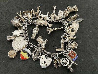 £85 • Buy Vintage Sterling Silver Charm Bracelet With 29 Silver Charms. 60 Grams!