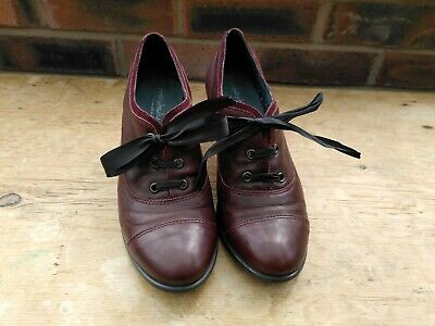 £10 • Buy Moshulu Burgundy Size 5 Dark Red Lace Up Heel Shoes, Vintage/Steampunk Style