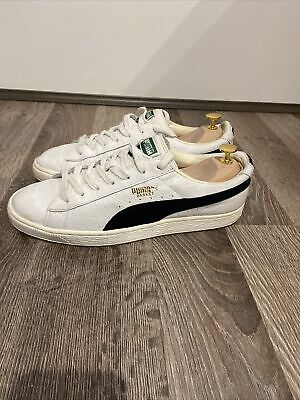 AU32.50 • Buy Puma Basket Sneakers White Leather Uppers With Black Suede Trim UK 9