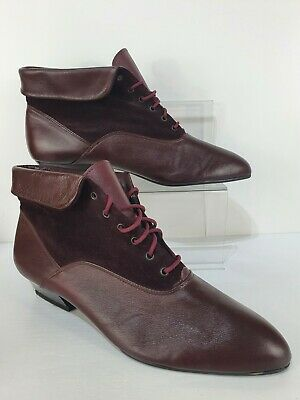 £24.99 • Buy Clarks Burgundy Red Leather Lace Up Ankle Boots Shoes Size UK 8 Victorian Modest