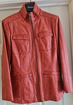 $ CDN51.48 • Buy Ladies Genuine Leather Jacket By Danier.... Brown With Hint Of Pink Small 18 16