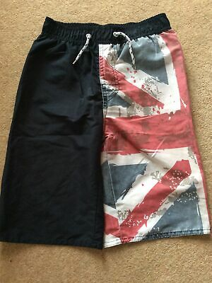 £1.79 • Buy Boys Union Jack Red And Navy Swimming Shorts - Age 8-9 Years