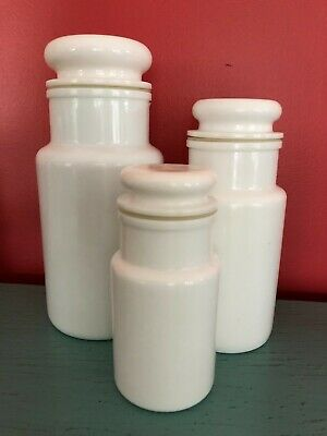 $69.99 • Buy Vintage White Milk Glass Apothecary Style Jar Set 3 Italy Small Canisters NICE!