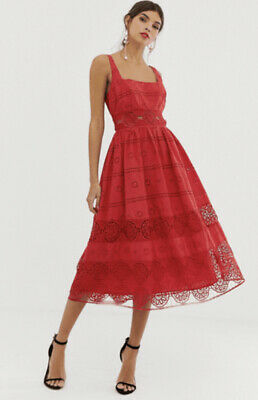 AU40.50 • Buy Asos Design Red Cutwork Broderie Lace Square Neck Midi Prom Dress- 10